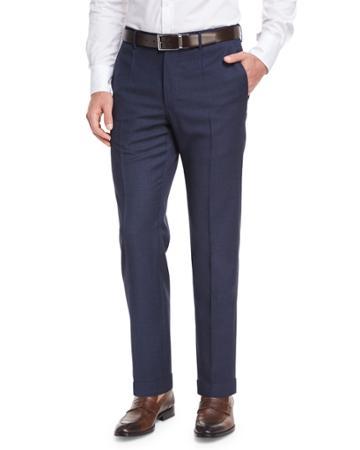 Micro-check Wool Straight-leg Trousers