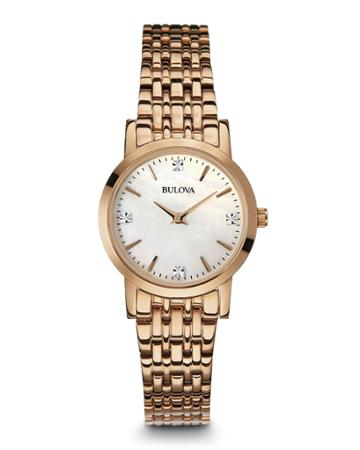 27mm Diamond Bracelet Watch, Rose Gold
