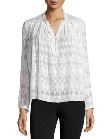 Long-sleeve Fil Coupe Silk-blend Top,