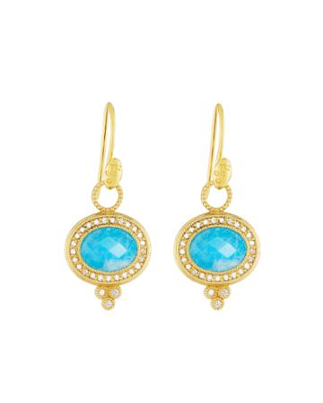 18k Provence Pavé Oval Dangle & Drop Earrings With Turquoise/moonstone Doublet