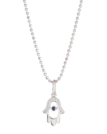 14k Hamsa Cutout Charm Necklace W/