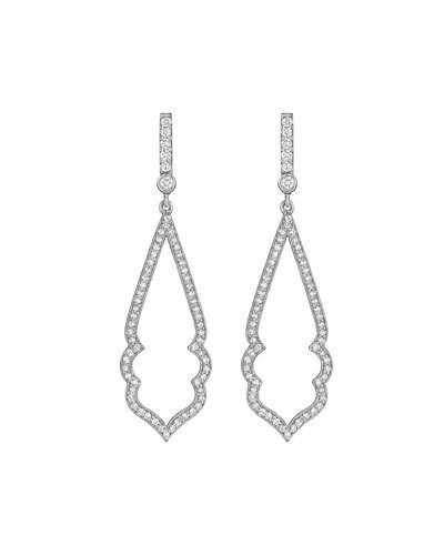 Arabesque 18k White Gold & Diamond Drop Earrings