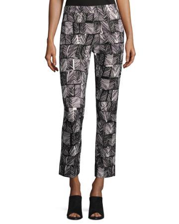 Palm-print Cropped Pants, Black