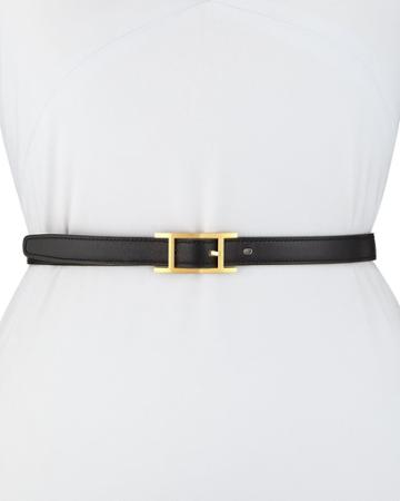 Estate Thin Leather Belt, Black/gold