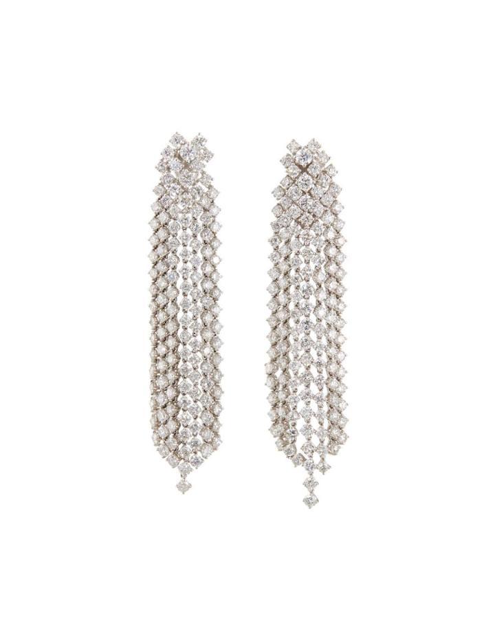 18k White Gold Diamond Dangle Earrings,17.4tcw