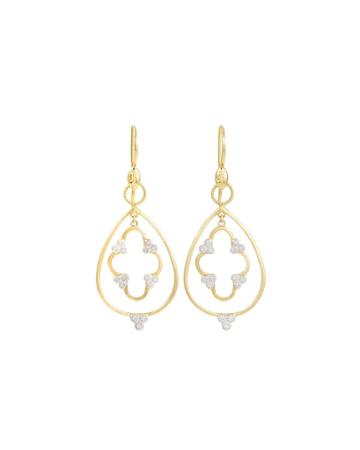 18k Gold Teardrop & Clover Diamond Earring Charms