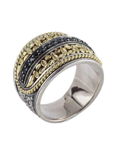 Asteri Etched Band Ring W/ Black Diamonds,