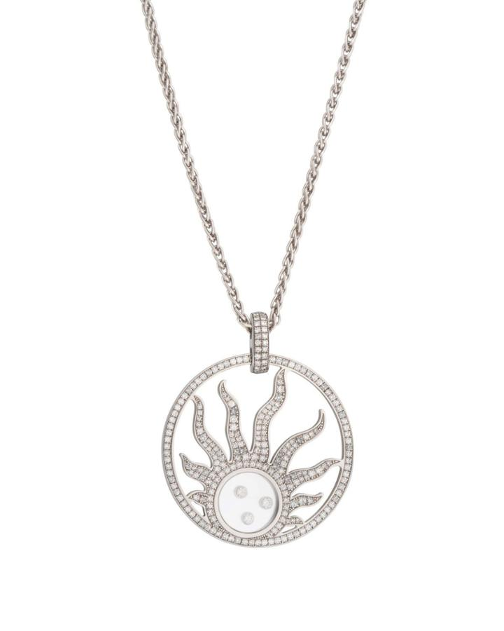 18k White Gold Happy Diamonds Sun Pendant Necklace