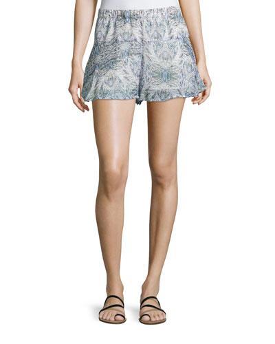 Printed Ruffled-hem Shorts, Dark Wave