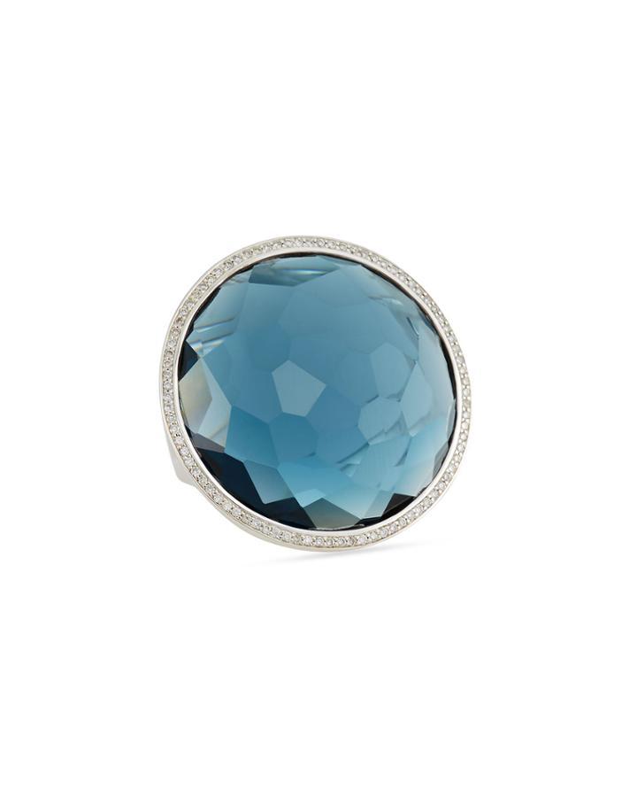 Stella Large Lollipop Ring In London Blue Topaz & Diamonds