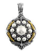 Silver & 18k Round Pearl Pendant Enhancer