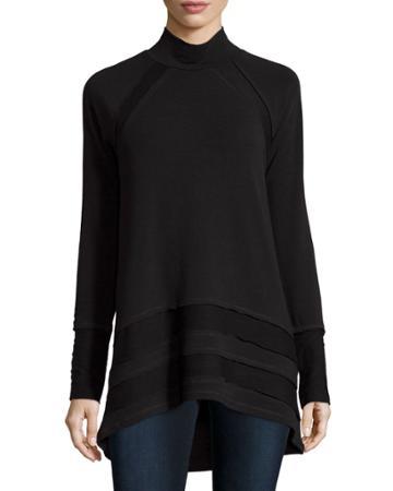 Neiman Marcus Active High-low Scrunch-neck Tunic, Black, Women's,