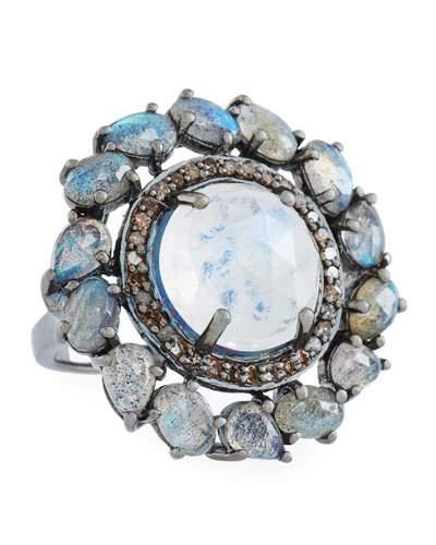 Round Moonstone, Labradorite & Diamond Ring