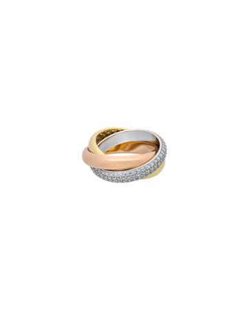 Estate 18k Tricolor Gold Trinity Ring With Diamonds,