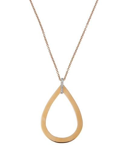 Chic & Shine 18k Rose Gold Teardrop Pendant Necklace W/ Diamonds