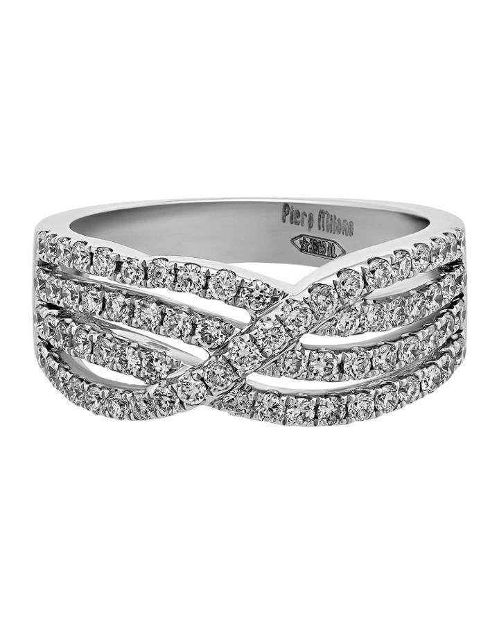 18k White Gold Diamond 4-row Ring,