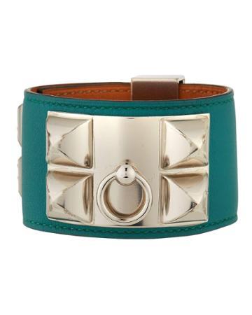 Estate Collier De Chien Leather Bracelet, Green/silver