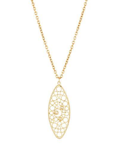 Bollicine 18k Yellow Gold Pendant Necklace W/ Diamonds