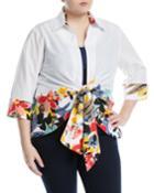 Floral-border Tie-front Blouse, Blouse