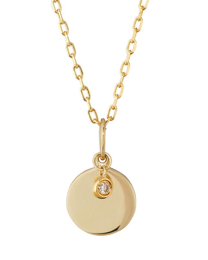 14k Diamond-bezel Disc Drop Necklace