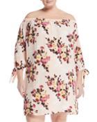 Off-the-shoulder Floral Shift Dress,