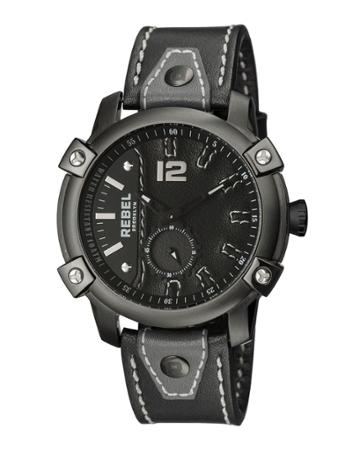 Men's 46mm Weeksville Leather Watch, Black