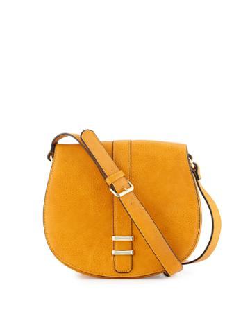 Neiman Marcus Saddle Crossbody Bag, Saffron, Women's,