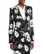 Floral-print Crepe Cady Tailored Jacket