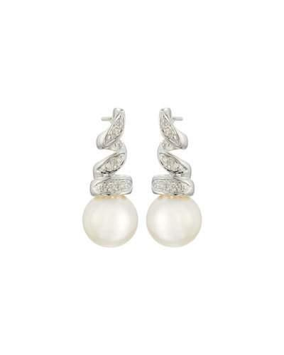 14k Diamond Swirl Freshwater Pearl Drop Earrings