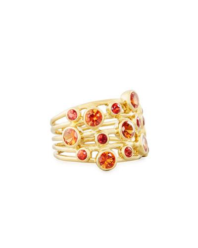 18k Lollipop Constellation Ring In Orange Sapphire,
