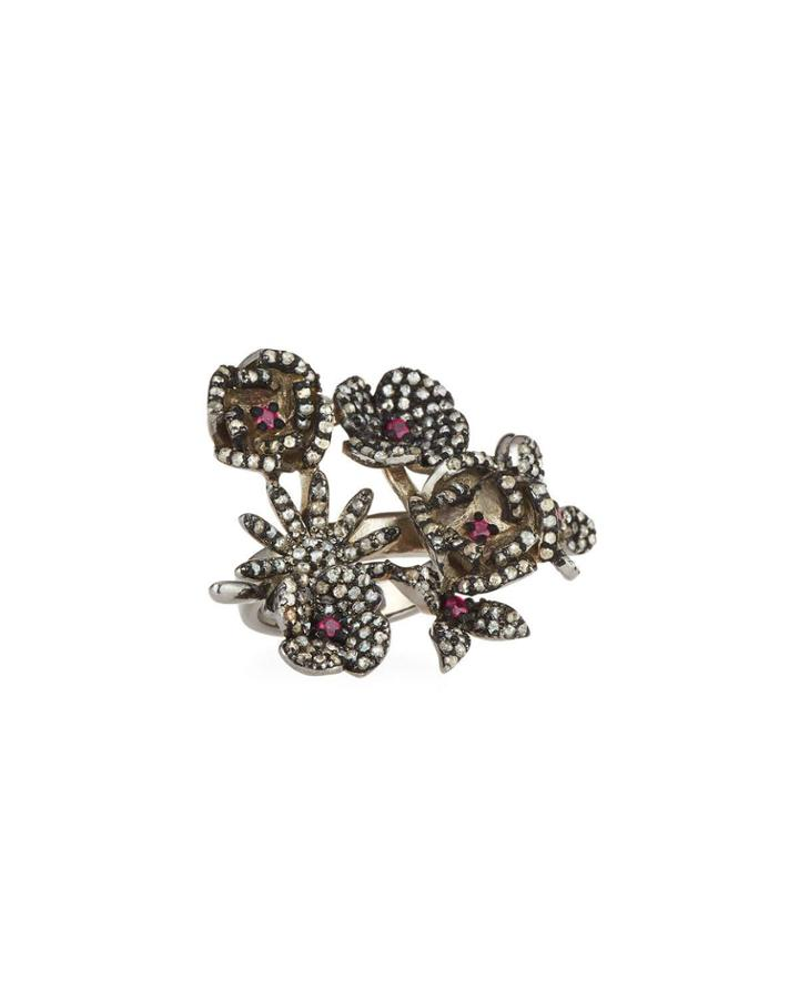 Diamond & Glass Ruby Floral Ring,