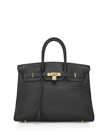 Birkin 35 Togo Satchel Bag, Black