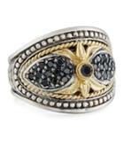 Asteri Ornate Wide Black Diamond Band Ring,