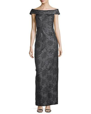 Floral-jacquard Off-the-shoulder Column Gown