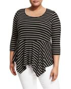 Crewneck Striped Knit Peplum Top