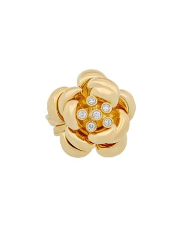 Estate 18k Yellow Gold Diamond Flower Ring,