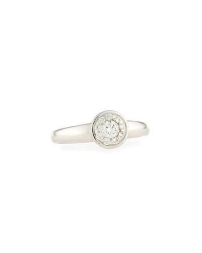 18k White Gold Diamond Bouquets Bezel Ring,