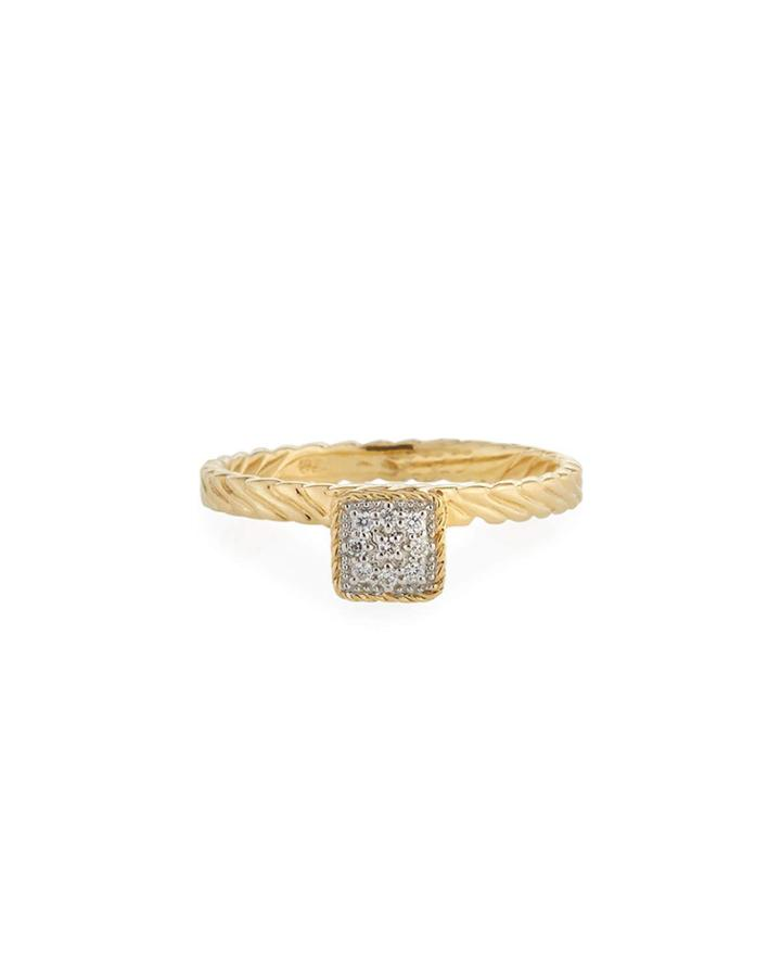 18k Gold Diamond Square Ring,