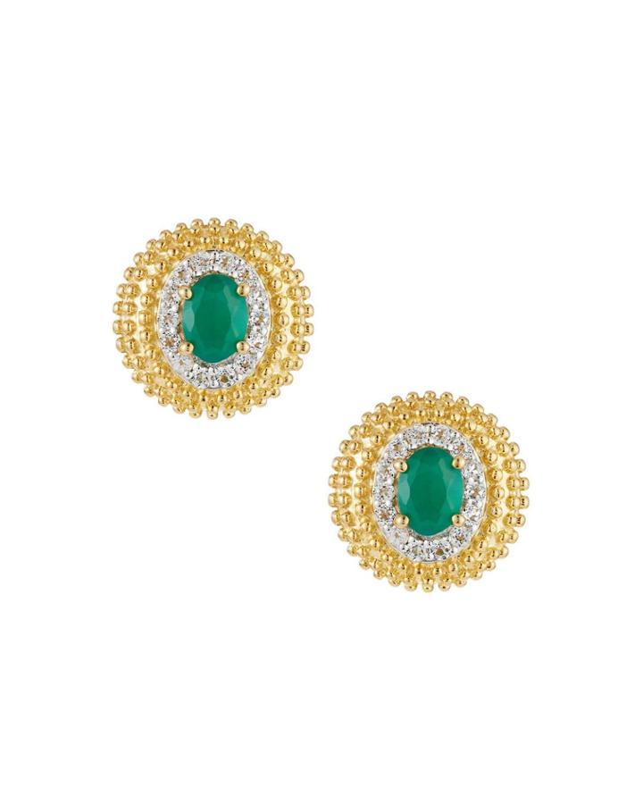 Green Onyx Button Earrings, Golden