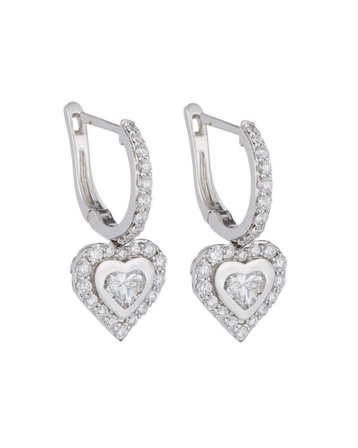 18k White Gold Diamond Heart Dangle Earrings