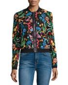Floral-embroidered Bomber Jacket,