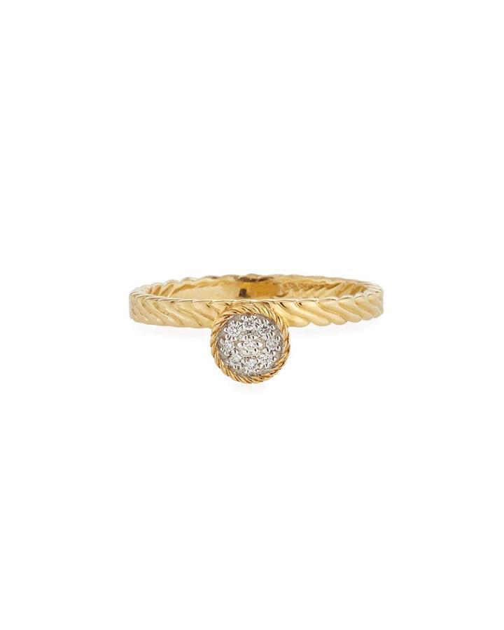 18k Gold Diamond Circle Ring,
