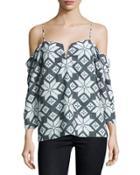 Printed Chiffon Cold-shoulder Blouse, Gray/white