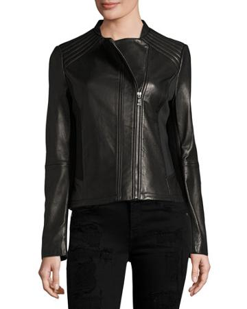 Kirsten Leather Moto Jacket, Black