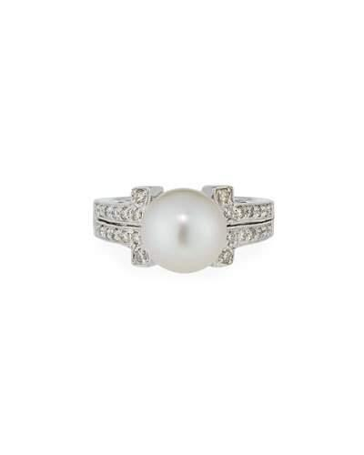 14k White South Sea Pearl & Diamond Ring,