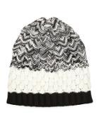 Scalloped Knit Wool Beanie Hat