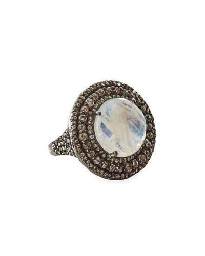 Rainbow Moonstone & Champagne Diamond Round Cocktail Ring,