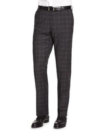 Super 150s Plaid Trousers, Gray