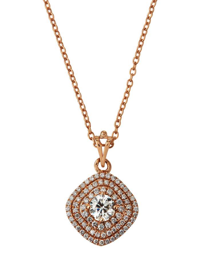 Estate 18k Rose Gold Diamond Pendant Necklace