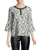Contrast-lace Bell-sleeve Blouse